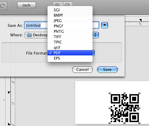 save qrcode as vestor graphic in iBrcoder