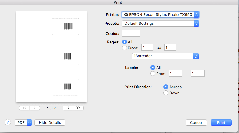 Sequential Barcode Generator for Mac